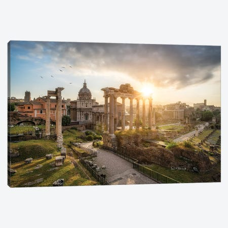 Roman Forum Also Known As Forum Romanum At Sunrise, Rome, Italy Canvas Print #JNB1105} by Jan Becke Canvas Wall Art