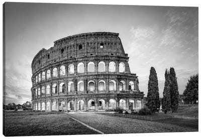 Colosseum In Rome In Black And White Canvas Art Print