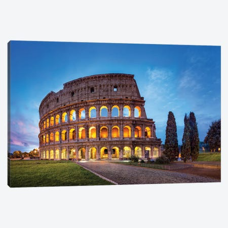 Colosseum In Rome At Night, Italy Canvas Print #JNB1108} by Jan Becke Canvas Art Print
