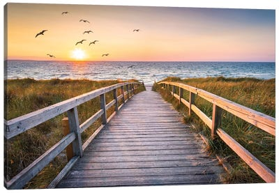 Sunset At The Dune Beach Canvas Art Print