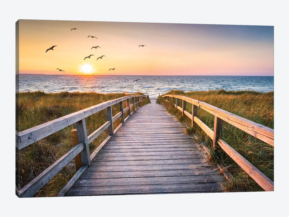 Sunset At The Dune Beach by Jan Becke 1-piece Canvas Print