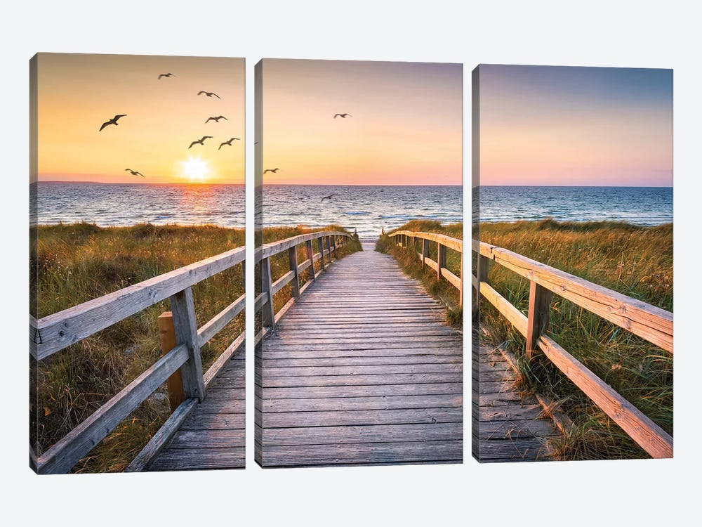 Sunset At The Dune Beach by Jan Becke 3-piece Canvas Art Print