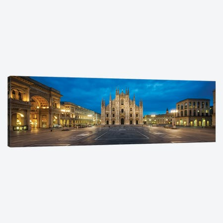 Panoramic View Of The Cathedral Square In Milan With Milan Cathedral And Galleria Vittorio Emanuele Ii, Lombardy, Italy Canvas Print #JNB1110} by Jan Becke Canvas Art