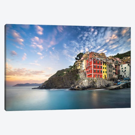 Colorful Houses Of Riomaggiore At Sunrise, Cinque Terre Coast, Italy Canvas Print #JNB1116} by Jan Becke Canvas Print