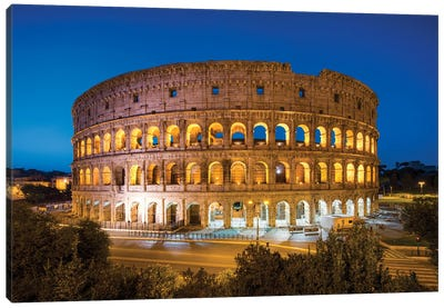 Colosseum At Night, Rome, Italy Canvas Art Print