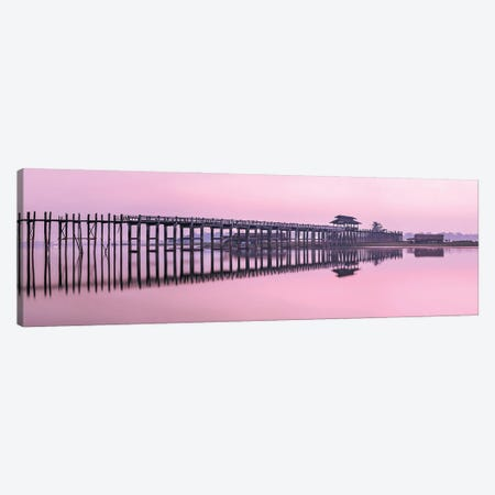 Panoramic View Of The U Bein Bridge At Dawn, Taungthaman Lake, Amarapura, Myanmar Canvas Print #JNB1126} by Jan Becke Canvas Art