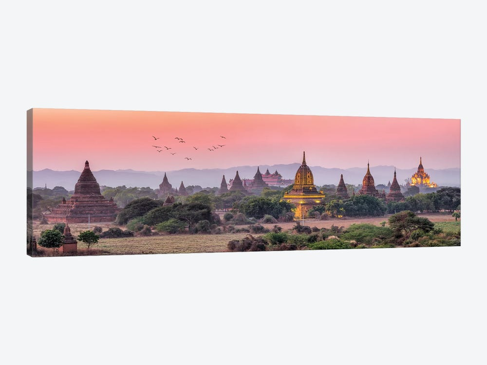 Panoramic View Of Ancient Temples At Dusk, Old Bagan, Myanmar by Jan Becke 1-piece Canvas Art