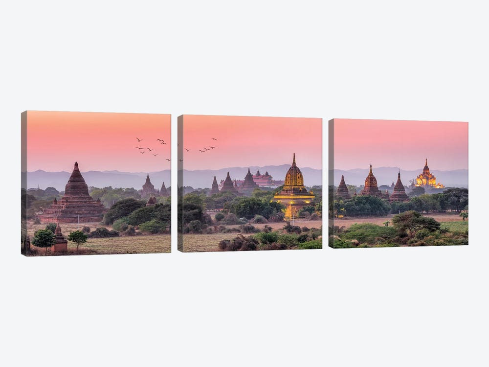 Panoramic View Of Ancient Temples At Dusk, Old Bagan, Myanmar by Jan Becke 3-piece Canvas Art
