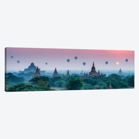 Old Temples With Hot Air Balloons At Sunrise, Bagan, Myanmar Canvas Print #JNB1151} by Jan Becke Canvas Art