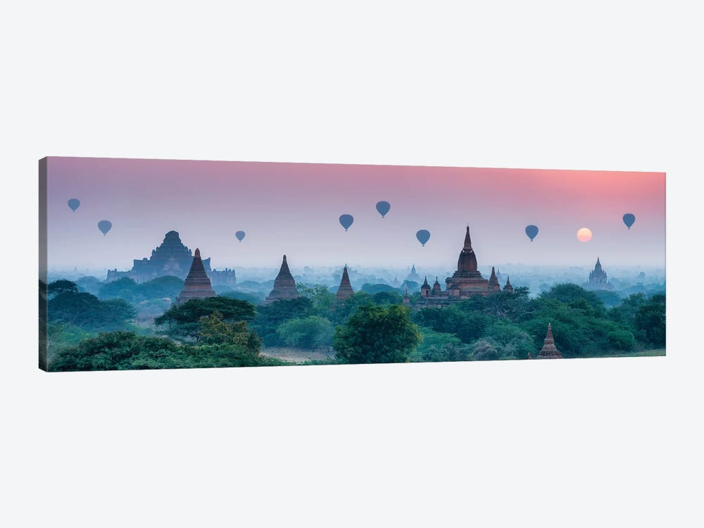 Old Temples With Hot Air Balloons At Sunrise, Bagan, Myanmar by Jan Becke 1-piece Canvas Print