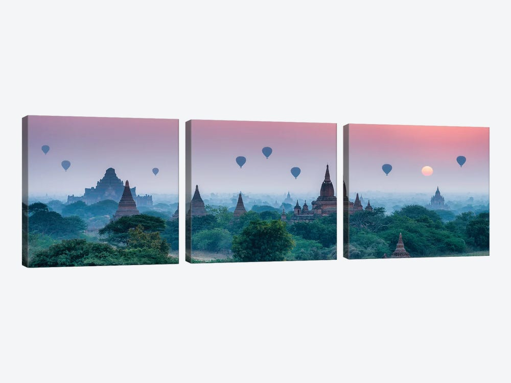 Old Temples With Hot Air Balloons At Sunrise, Bagan, Myanmar by Jan Becke 3-piece Canvas Art Print