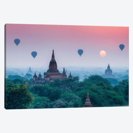 Hot Air Balloons Over The Temples Of Bagan At Sunrise, Myanmar Canvas Print #JNB1159} by Jan Becke Canvas Artwork