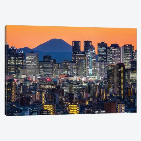 Tokyo Skyline With Mount Fuji At Night Canvas Print #JNB115} by Jan Becke Canvas Art