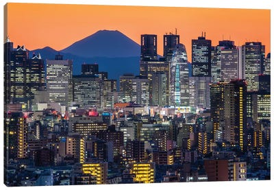 Tokyo Skyline With Mount Fuji At Night Canvas Art Print
