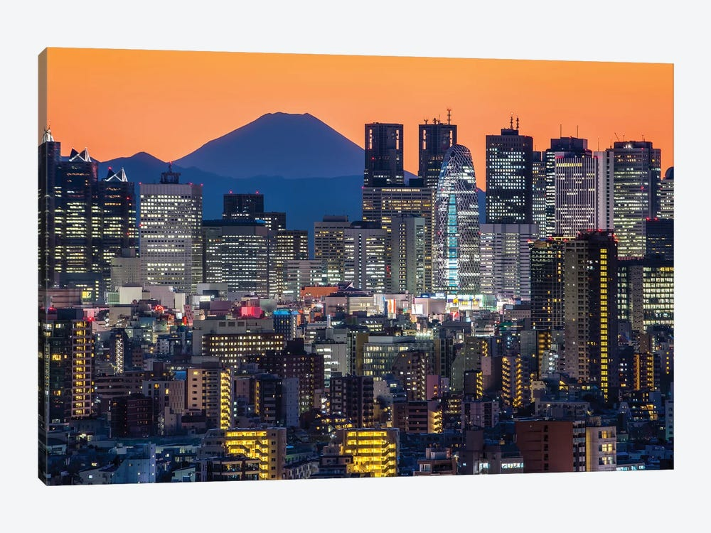 Tokyo Skyline With Mount Fuji At Night by Jan Becke 1-piece Canvas Art