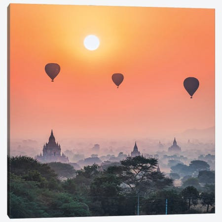 Hot Air Balloons And Old Temples In Bagan, Myanmar Canvas Print #JNB1165} by Jan Becke Canvas Art