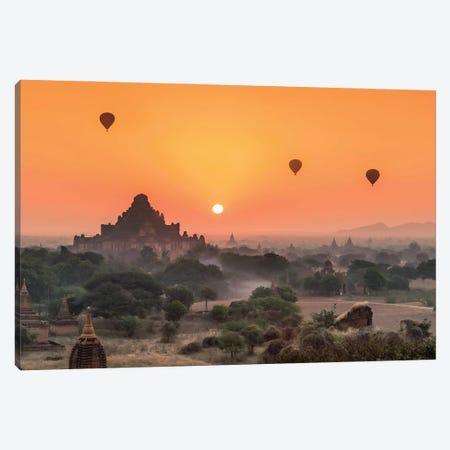Dhammayangyi Temple And Hot Air Balloons At Sunrise, Bagan, Myanmar Canvas Print #JNB1168} by Jan Becke Canvas Art Print