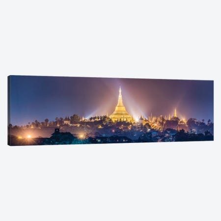 Panoramic View Of The Golden Shwedagon Pagoda In Yangon At Night, Myanmar Canvas Print #JNB1170} by Jan Becke Canvas Wall Art