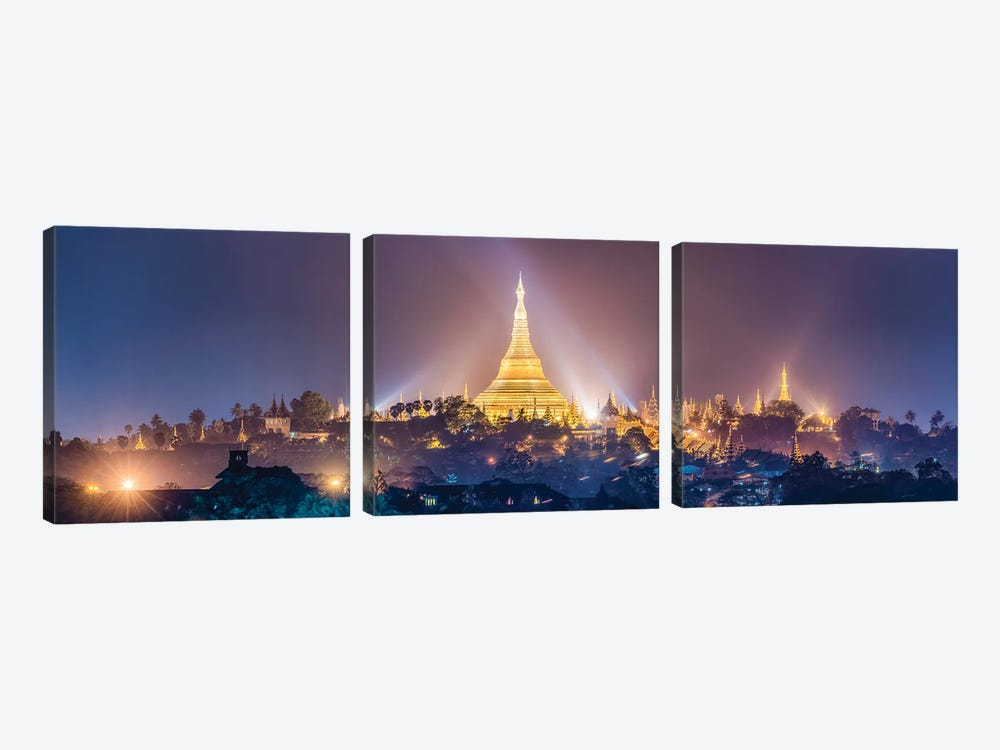Panoramic View Of The Golden Shwedagon Pagoda In Yangon At Night, Myanmar by Jan Becke 3-piece Canvas Art