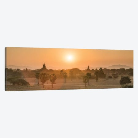 Panoramic View Of Old Bagan At Sunrise, Myanmar Canvas Print #JNB1178} by Jan Becke Canvas Wall Art