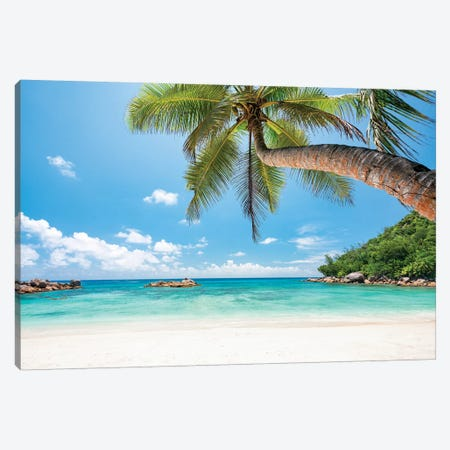 Tropical Beach With Palm Tree Canvas Print #JNB117} by Jan Becke Canvas Wall Art