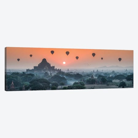 Panoramic View Of Dhammayangyi Temple And Hot Air Balloons At Sunrise, Bagan, Myanmar Canvas Print #JNB1182} by Jan Becke Canvas Print