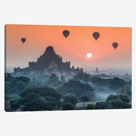 Dhammayangyi Temple And Hot Air Balloons At Sunrise, Old Bagan, Myanmar Canvas Print #JNB1183} by Jan Becke Canvas Art Print