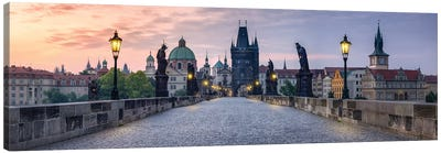 Panoramic View Of The Charles Bridge In Prague, Czech Republic Canvas Art Print