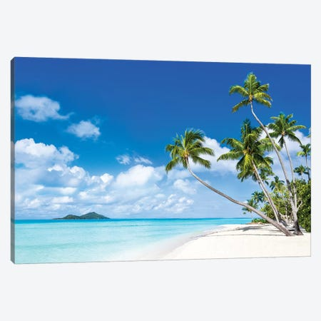 Tropical Beach With Palm Trees Canvas Print #JNB118} by Jan Becke Canvas Art Print