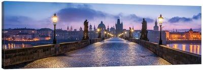 Panoramic View Of The Charles Bridge In Prague At Dusk, Czech Republic Canvas Art Print