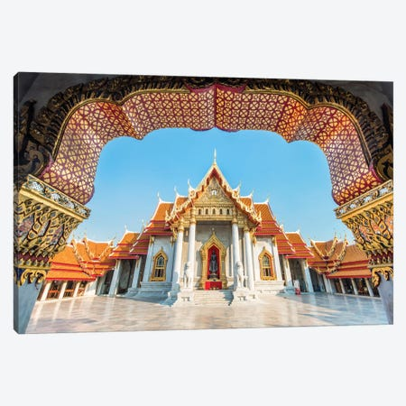 Wat Benchamabophit Also Known As The Marble Temple, Bangkok, Thailand Canvas Print #JNB1195} by Jan Becke Canvas Art Print