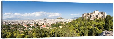 Panoramic View Of Athens With Acropolis And Lykabettus Hill, Greece Canvas Art Print