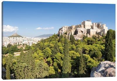 Acropolis Of Athens And Lykabettus Hill, Greece Canvas Art Print