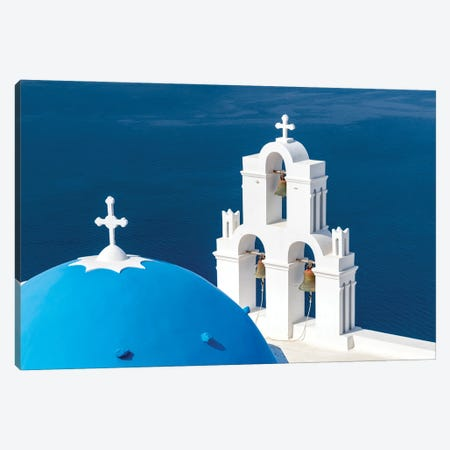 Catholic Church Of The Dormition Also Known As The Three Bells Of Fira, Santorini, Greece Canvas Print #JNB1199} by Jan Becke Canvas Wall Art