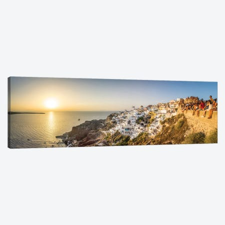 Oia Sunset Panorama, Santorini, Greece Canvas Print #JNB1200} by Jan Becke Canvas Wall Art