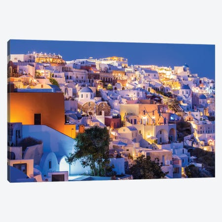 Oia At Night, Santorini, Greece Canvas Print #JNB1201} by Jan Becke Canvas Artwork