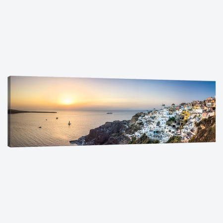 Panoramic Sunset View Of Oia And The Caldera, Santorini, Greece Canvas Print #JNB1204} by Jan Becke Canvas Art Print