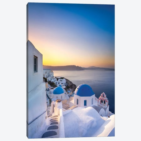 Sunrise Over The Blue Rooftops In Oia, Santorini, Greece Canvas Print #JNB1209} by Jan Becke Canvas Artwork