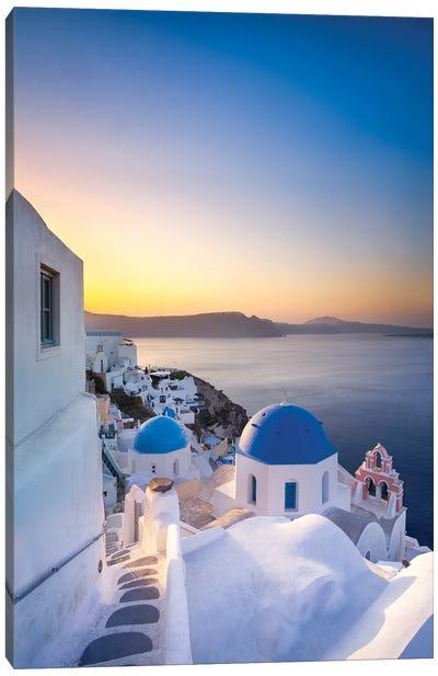 Sunrise Over The Blue Rooftops In Oia, Santorini, Greece Canvas Art Print