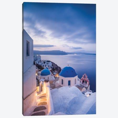 Town Of Oia At Dusk, Santorini, Greece Canvas Print #JNB1210} by Jan Becke Canvas Art Print