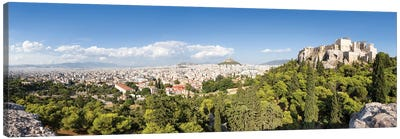 Panoramic View Of Athens With Acropolis And Lykabettus Hill In The Distance, Greece Canvas Art Print