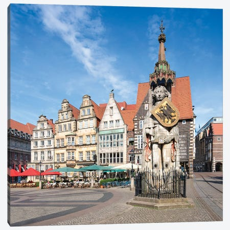 Bremen Roland Statue At The Historic Market Square Of Bremen, Germany Canvas Print #JNB1216} by Jan Becke Canvas Artwork