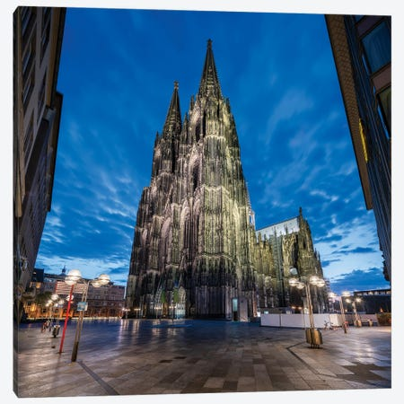 Cologne Cathedral At Night Canvas Print #JNB1220} by Jan Becke Canvas Art