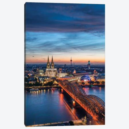 Aerial View Of The Cologne Skyline At Dusk With Cologne Cathedral And Hohenzollern Bridge Canvas Print #JNB1225} by Jan Becke Art Print