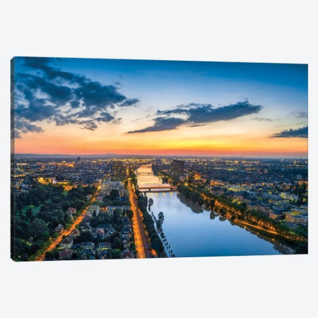 Aerial View Of Mannheim At Sunset With View Of The Neckar River Canvas Print #JNB1238} by Jan Becke Canvas Art Print
