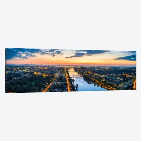 Aerial View Of Mannheim Along The Neckar River At Sunset Canvas Print #JNB1250} by Jan Becke Art Print