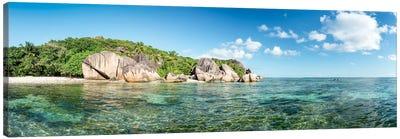 Anse Source D'Argent Beach Panorama, La Digue, Seychelles Canvas Art Print