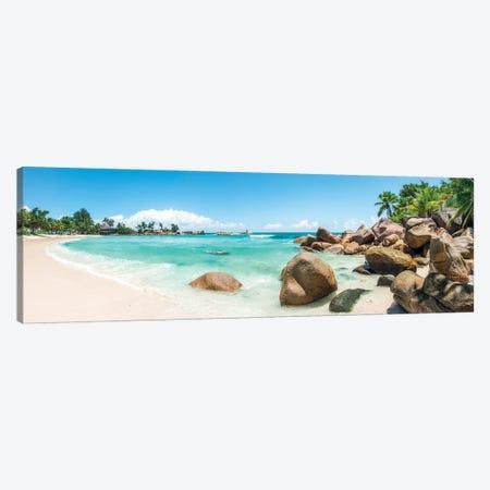 Panoramic View Of A Tropical Beach On The Island Of Praslin, Seychelles Canvas Print #JNB1279} by Jan Becke Art Print