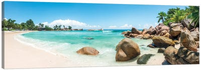 Panoramic View Of A Tropical Beach On The Island Of Praslin, Seychelles Canvas Art Print