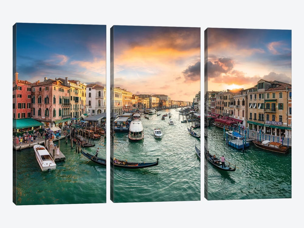The Grand Canal in Venice, Italy by Jan Becke 3-piece Canvas Art Print